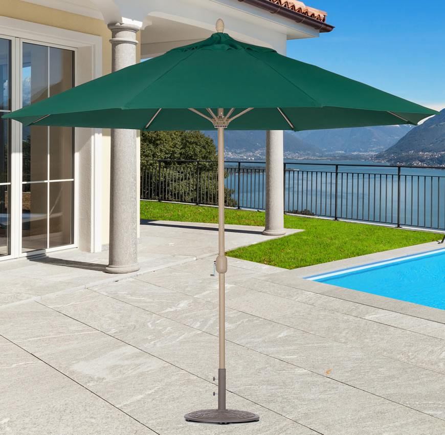681HC 11' Honey Champagne Aluminum Market Umbrella with Sunbrella cover